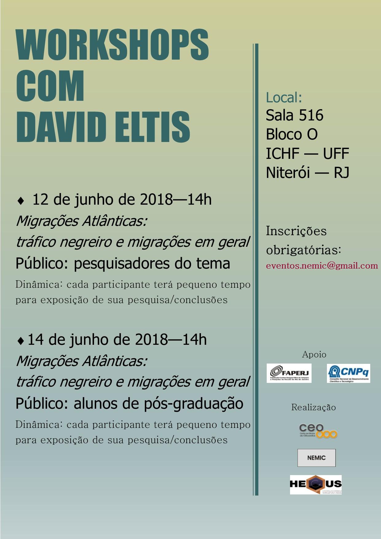 Workshop com pesquisadores do tema Migrações Atlânticas: Tráfico negreiro e migrações em geral